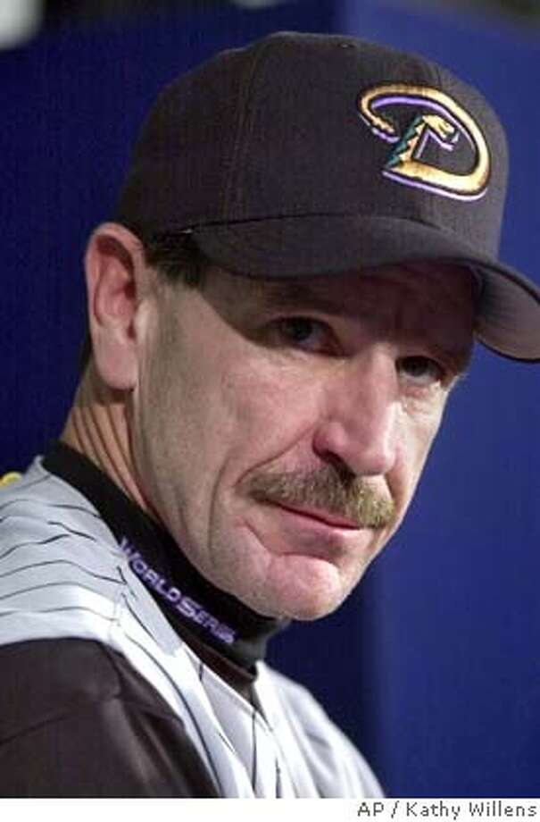 Arizona Diamondbacks manager Bob Brenly listens to a question during a post-game news conference after losing 3-2 in Game 5 of the World Series to the New York Yankees Thursday, Nov. 1, 2001 at Yankee Stadium in New York. (AP Photo/Kathy Willens) CAT DIGITAL IMAGE Photo: KATHY WILLENS