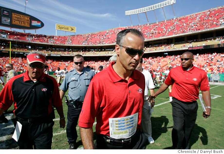 San Francisco 49ers head coach Mike Nolan walks off the field after losing 41-0 vs. Kansas City Chiefs at Arrowhead Stadium in Kansas City, MO on Sunday, October 1, 2006. 10/1/06  Darryl Bush / The Chronicle ** Photo: Darryl Bush