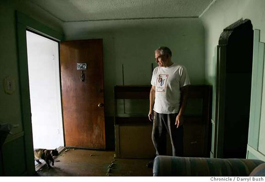 shack16_0002_db.JPG  Owner Alan Mazzetti stands (as a kitty enters through front door) inside a remodeled 1906 earthquake refugee shack he owns at 842 Moultrie St., in San Francisco, CA on Thursday, September 14, 2006. 9/14/06  Darryl Bush / The Chronicle ** Alan Mazzetti (cq)  Ran on: 10-02-2006  Alan Mazzetti stands in the 1906 Bernal Heights earthquake shack he owns, which is historically significant. Mazzetti would like to give the structure away. Photo: Darryl Bush