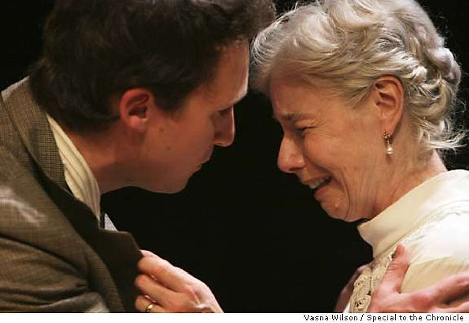 """Mountain View, CA - John Russell, left, and Diane Tasca (both CQ) rehearse a scene in """"Long Days Journey Into Night,"""" during a dress rehearsal at the Pear Avenue Theater in Mountain View, CA., on Monday, September 18, 2006. The play opens this Friday, September 22. (Vasna Wilson/Special to the Chronicle) Mantory credit for photographer, San Francisco Chronicle. Magazine out. Photo: Vasna Wilson"""