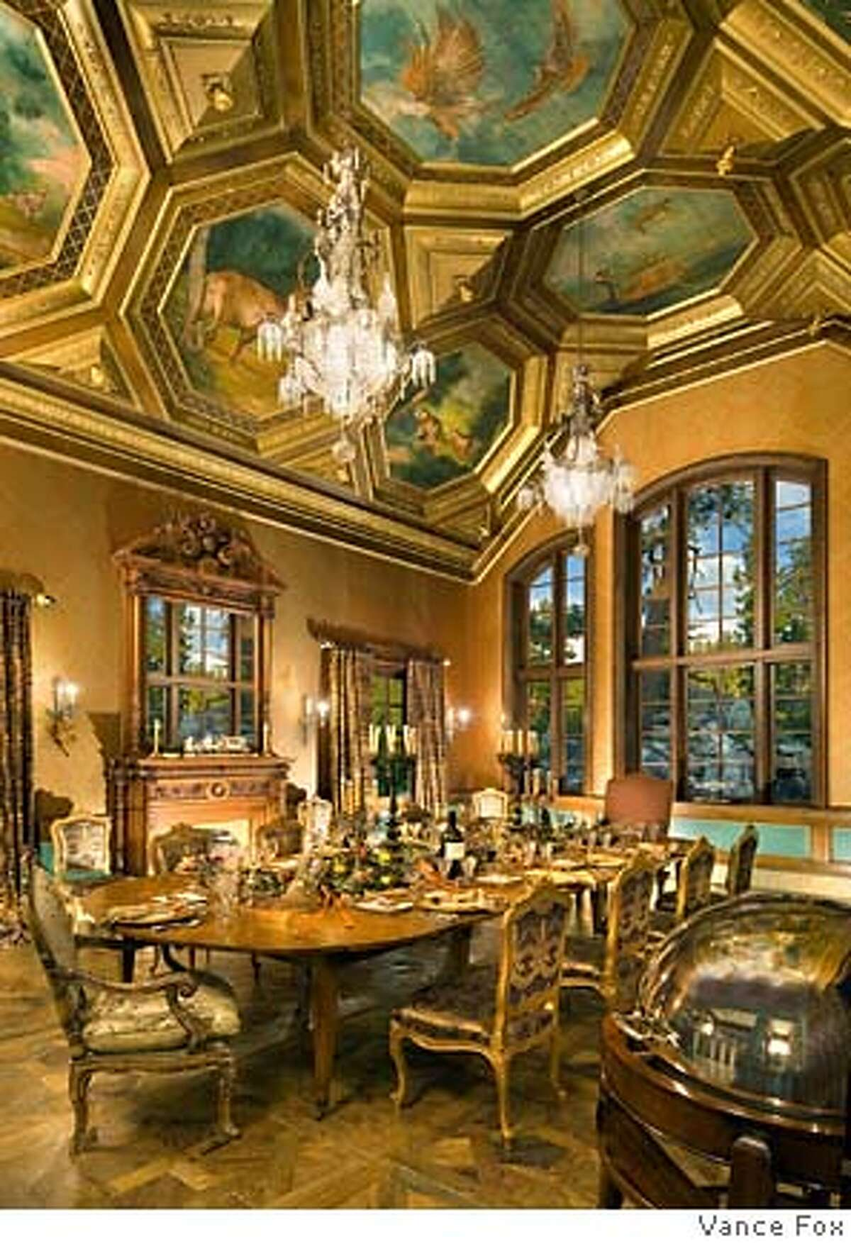 Dining room at Tranquilty, the 210-acre, 9-building compound on the eastern shore of Lake Tahoe owned by Tommy Hilfeger co-founder Joel Horowitz and now on the market for $100 million.