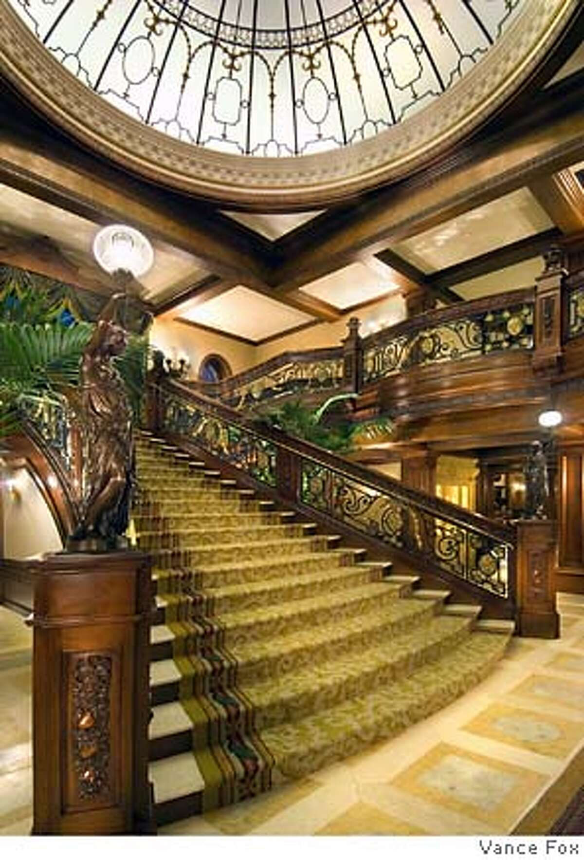 Grand staircase (a replica of the one on the Titanic) at Tranquilty, the 210-acre, 9-building compound on the eastern shore of Lake Tahoe owned by Tommy Hilfeger co-founder Joel Horowitz and now on the market for $100 million.