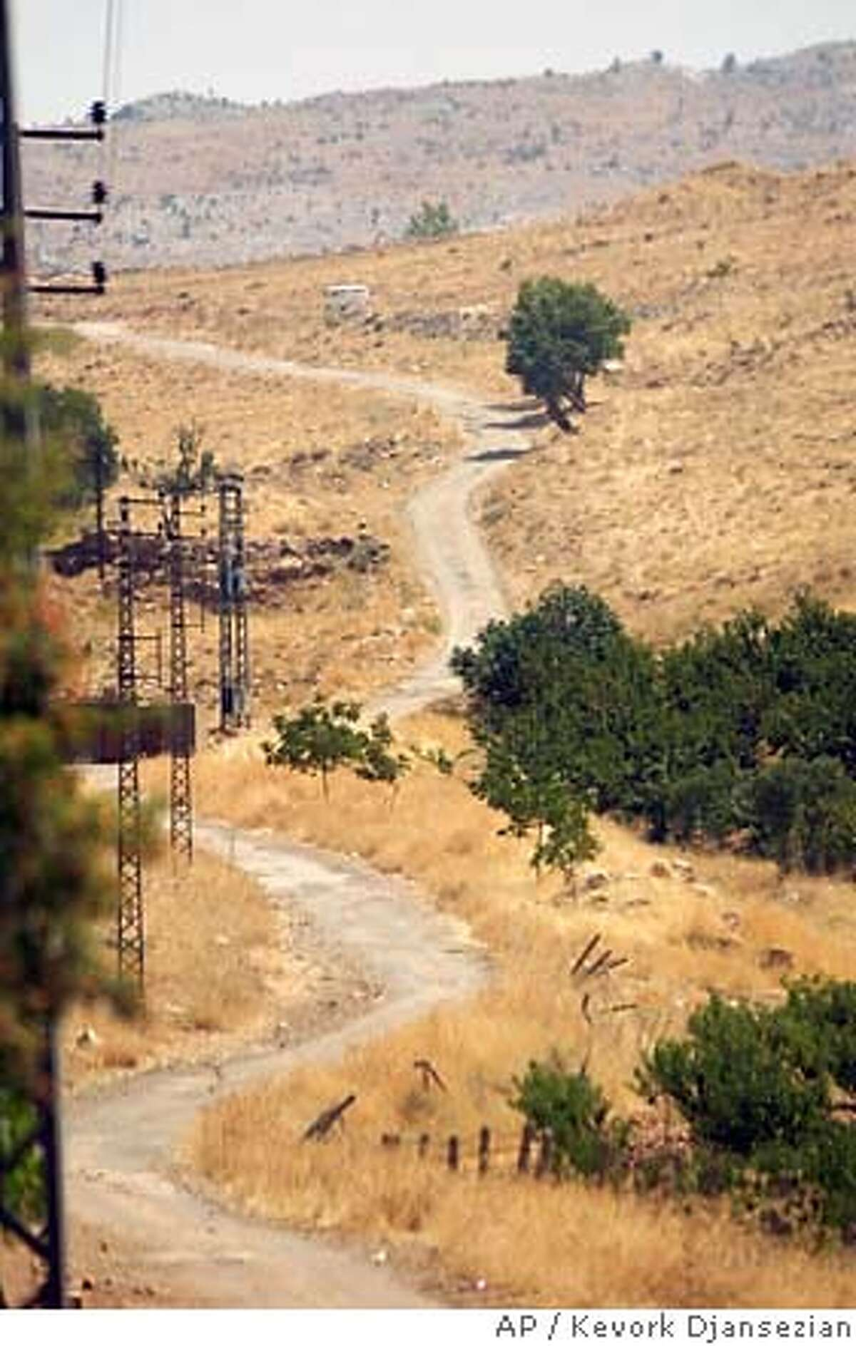 A dirt road which leads towards the Syrian border is seen from Aita-Al-Fourkhar village in the Bekaa Valley, Lebanon, Saturday, Aug. 26, 2006. The Lebanese army is rushing troops to the country's porous borders, because Israel has said it won't lift its air and sea blockade of the country until the frontier is clamped shut and new arms are not flowing to Hezbollah fighters from their benefactors in Syria and Iran. The army said putting soldiers along the route has reduced smuggling by 90%. (AP Photo/Kevork Djansezian)