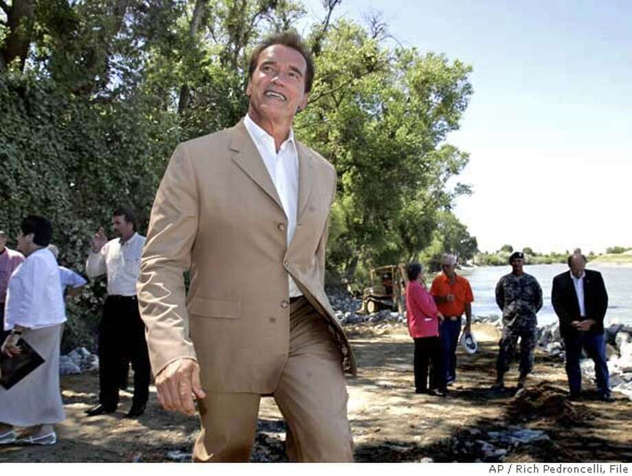 ** FILE ** ADVANCE FOR USE ANYTIME **California Gov. Arnold Schwarzenegger smiles as he leaves a news conference held at a critical erosion site along the Sacramento River near Knights Landing, Calif., in this file photo taken Tuesday, July 11, 2006. Schwarzenegger has a double digit lead in public opinion polls over his Democratic opponent, state Treasurer Phil Angelides, according to the Public policy Institute of California. (AP Photo/Rich Pedroncelli) ADVANCE FOR USE ANYTIME JULY 11, 2006 FILE PHOTO Photo: RICH PEDRONCELLI