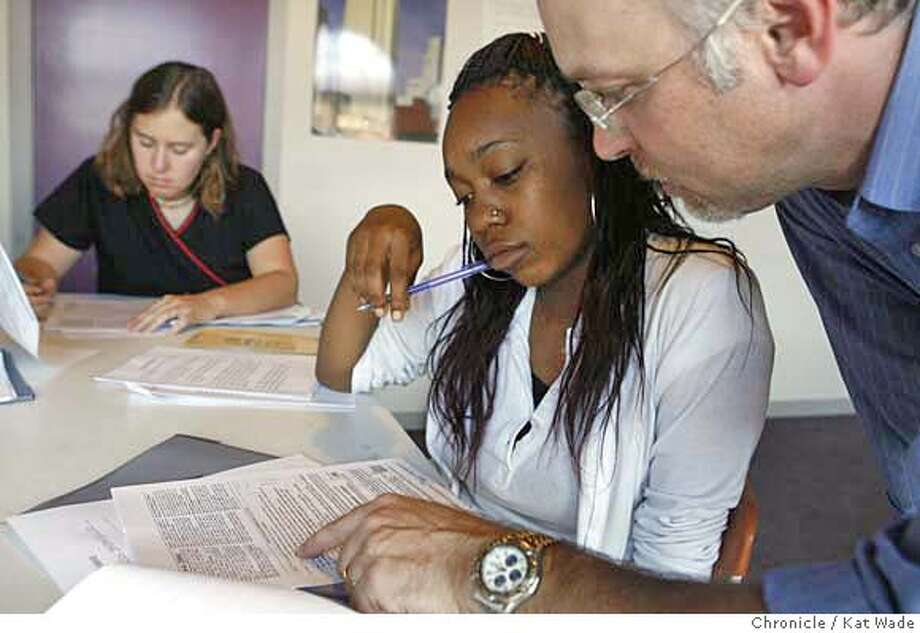 HIRING27_034_KW_.jpg  On Thursday September 21, 2006 (RIGHT TO LEFT) Robert Aichele (STANDING far Right) Director of Operations for Teaz Me Tea, helps new employee Remy Stapleton, 16, (center) with her tax forms during training and orientation for four new employees including Kelly Fitzgerald, 23, (LEFT) hired through the South of Market Employment Center for the quick service restaurant opening in the Westfield San Francisco Shopping Center. The goal at the South of Market Employment Center is to help ensure that half of the new jobs created by the new Shopping Mall go to San Francisco residents, including people from low income neighborhoods. Kat Wade/The Chronicle ** Robert Aichele, Remy Stapleton, 16 and Kelly Fitzgerald, 23 (subjects) cq Mandatory Credit for San Francisco Chronicle and photographer, Kat Wade, Mags out Photo: Kat Wade