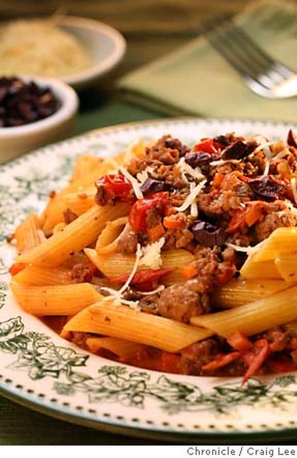 PAIRINGS29_097_cl.JPG  pairing recipe to go with Napa Valley Syrahs - Sausage, Lamb & Tomato Pasta  Food photo styled by Sarah Fritsche.  Craig Lee / The Chronicle MANDATORY CREDIT FOR PHOTOG AND SF CHRONICLE/ -MAGS OUT Photo: Craig Lee