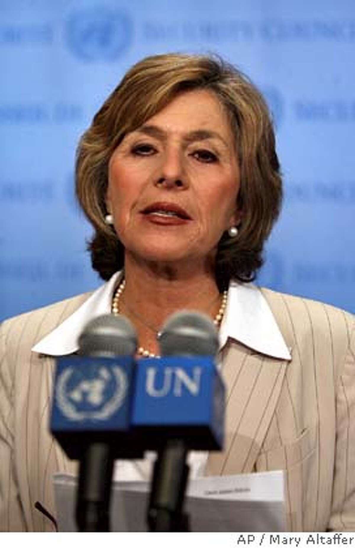 Sen. Barbara Boxer, D-Calif, addresses members of the media about the situation in Darfur at United Nations headquarters, Monday, Sept. 18, 2006. (AP Photo/Mary Altaffer)