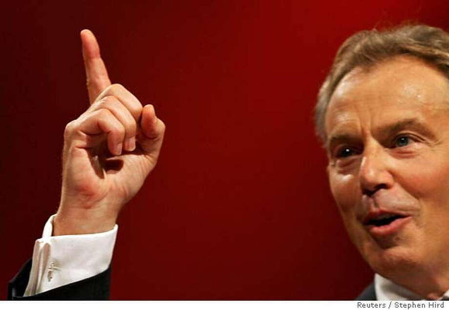 Britain's Prime Minister Tony Blair delivers his keynote speech during the annual Labour Party conference in Manchester, northern England September 26, 2006. REUTERS/Stephen Hird (BRITAIN) 0 Photo: STEPHEN HIRD