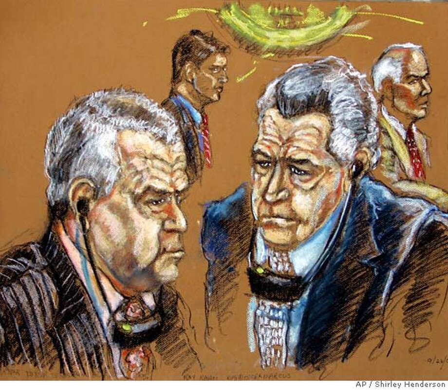 An artistic rendering shows Gilberto, left foreground, 67, and Miguel Rodriguez Orejuela, right foreground, 63, with defense attorneys David Oscar Markus, left background, and Roy J. Kahn, right background, in federal court Tuesday, Sept. 26, 2006, in Miami. The two Colombian brothers pleaded guilty Tuesday to U.S. drug trafficking and money laundering charges stemming from their roles as founders of the Cali cocaine cartel, and agreed to forfeit billions of dollars of assets linked to their drug trade. (AP Photo/Shirley Henderson) AN ARTISTIC RENDERING Photo: SHIRLEY HENDERSON
