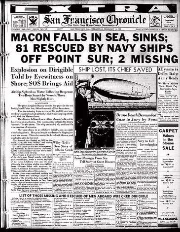 Front page of the Chronicle on the USS Macon accident in 1935. The image is to accompany a story by Carolyn Jones slugged Macon26. Photo: M