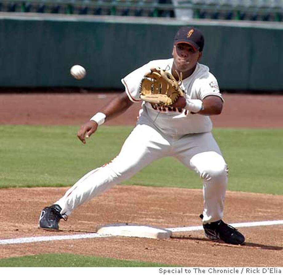 Giant's newly-signed 16-year-old third baseman Angel Vilalona takes a cut off throw to third in a game with the California Angels in the developmental league in Scottsdale, Arizona, Wednesday September 20, 2006. Rick D'Elia/Special to The Chronicle Photo: Rick D'Elia