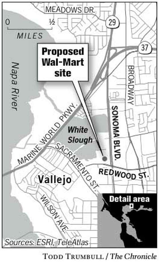 Proposed Wal-Mart Site. Chronicle graphic by Todd Trumbull