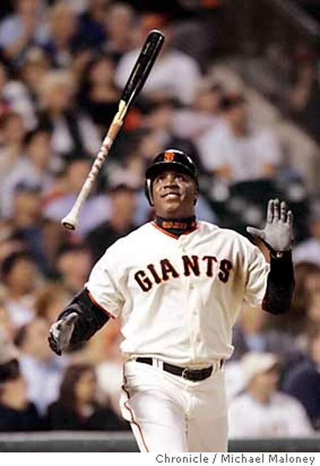 Giants Barry Bonds reacts to his 4th inning fly out.  San Francisco Giants vs Arizona Diamondbacks at AT&T Park.  Photo by Michael Maloney / San Francisco Chronicle on 9/25/06 in San Francisco,CA Ran on: 09-26-2006  Barry Bonds was 0-for-4 on the evening as the Giants were held to five hits by three Diamondbacks pitchers.  Ran on: 09-26-2006  Barry Bonds was 0-for-4 on the evening as the Giants were held to five hits by three Diamondbacks pitchers. Photo: Michael Maloney