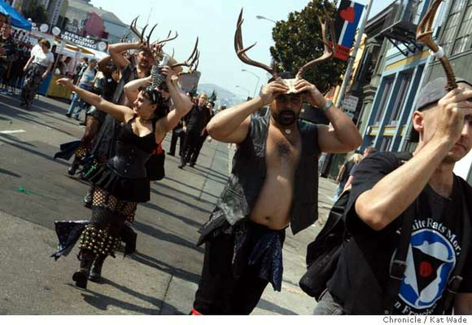 The White Rats Morris dance group who give a fettish twist to the traditional English Country Moris dance style while performing at the annual Folsom Street Festival on Sunsday September 24, 2006. Kat Wade/The Chronicle **Barry P. (subjects) cq Photo: Kat Wade