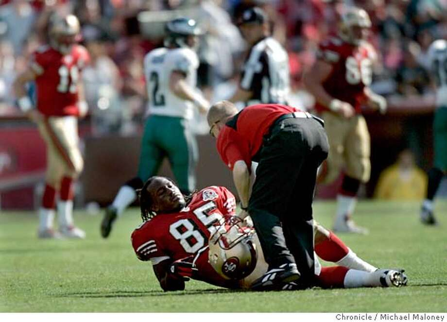49ers Vernon Davis (#85) lies injured on the field in the 3rd quarter. The San Francisco niners play the Philadelphia Eagles at Monster Park in San Francisco on Sept. 24th, 2006.  Michael Maloney /The Chronicle Photo: Michael Maloney