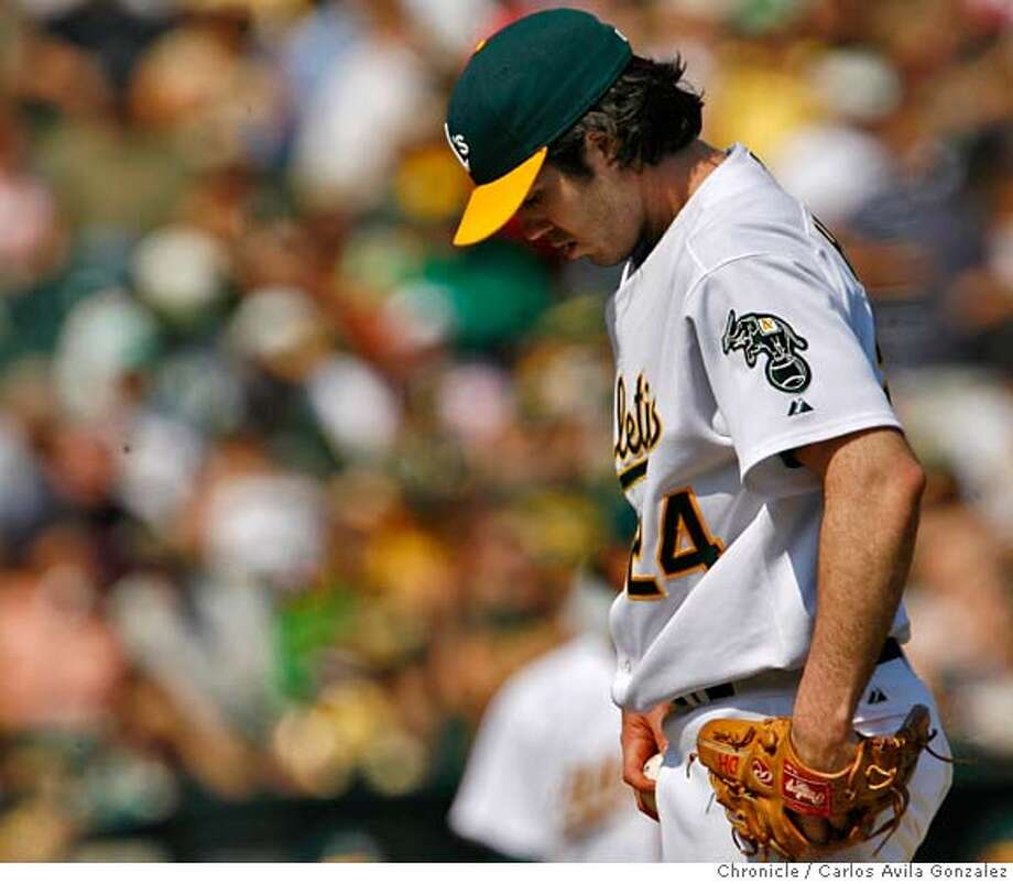 Oakland starter, Dan Haren, gave up six runs in six innings. The Oakland Athletics played the Los Angeles Angels of Anaheim at McAfee Coliseum in Oakland, Ca., on Sunday, September 24, 2006.  Photo by Carlos Avila Gonzalez/The San Francisco Chronicle  Photo taken on 9/24/06, in Oakland, Ca, USA  **All names cq (source) Photo: Carlos Avila Gonzalez