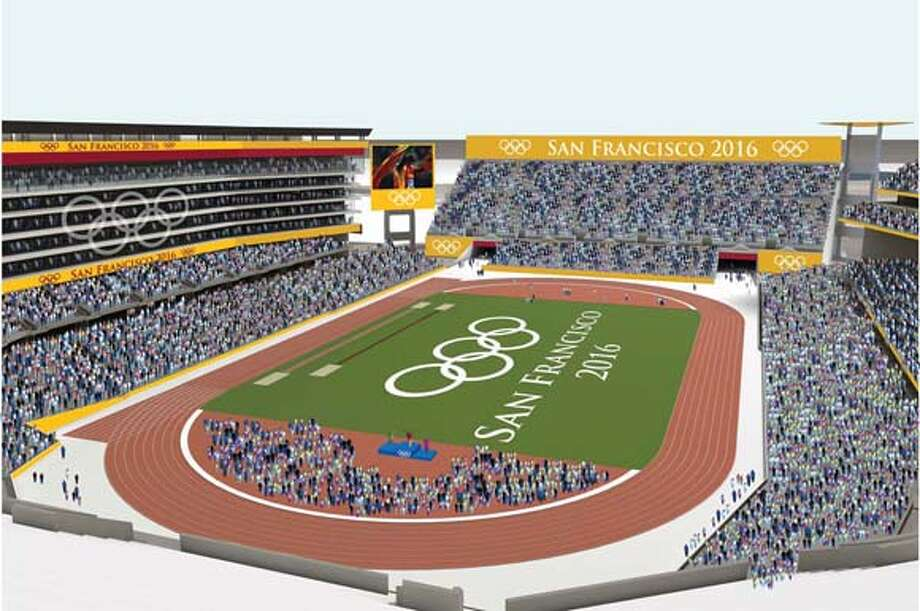 An artist�s impression of how the 49ers Stadium might look during the Olympic Games