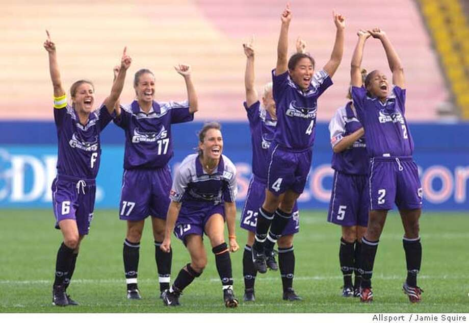 25 Aug 2001: Players of the Bay Area Cyberrays celebrate their overtime win against the Atlanta Beat during the WUSA Championship game at Foxboro Stadium in Foxboro, Massachusetts. The Cyberrays won . DIGITAL IMAGE. Mandatory Credit: Jamie Squire/Allsport CAT Mandatory Credit: Jamie Squire/ALLSPORT Photo: JAMIE SQUIRE