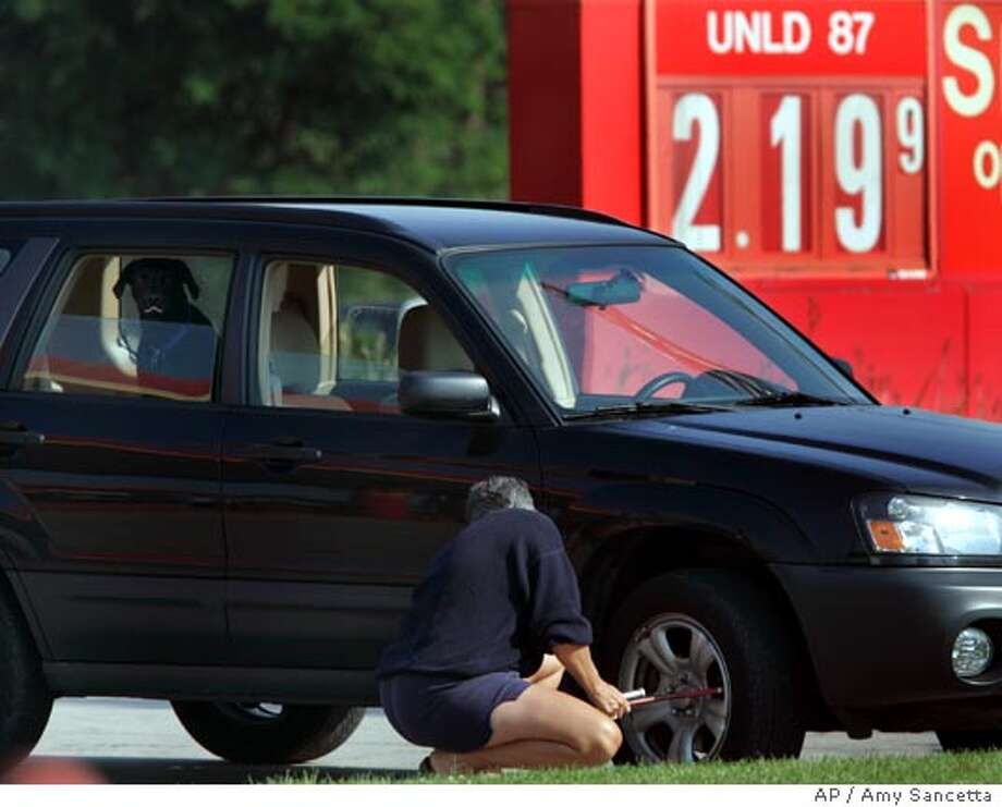 At a Sheetz gas station in Streetsboro, Ohio where the price for a gallon of regular unleaded gasoline droped to $2.19.9, a customer puts air in her car's tires on Friday, Sept. 8, 2006. Crude oil prices reversed their slide and edged higher after dropping below $67 a barrel on a U.S. inventory report showed that higher refinery production was helping boost gasoline and distillate inventories. (AP Photo/Amy Sancetta) Photo: AMY SANCETTA