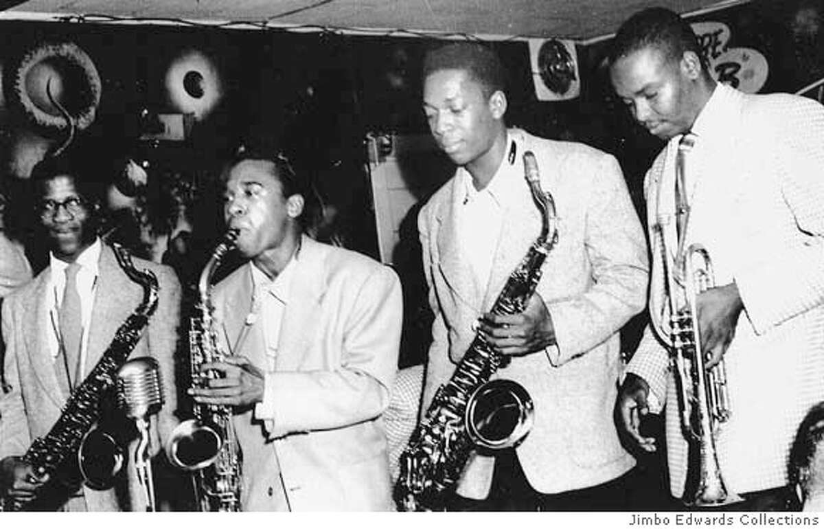 BLACKJAZZ1/C/28JAN98/PK/JIMBO EDWARDS COLLECTION- AN ENDURING LEGACY OF SF'S BOP CITY WAS THAT YOUNG MUSICIANS, PROVIDING THEIR SKILL WAS EQUAL TO IT, WERE INVITED TO PLAY WITH RENOWNED ARTISTS. HERE, SOME OF THE BEST TALENT SHARES THE BANDSTAND. LEFT TO RIGHT ARE JOHN HANDY, PONY POINDEXTER, JOHN COLTRANE, AND FRANK FISHER. JIMBO EDWARDS COLLECTION. BLACK JAZZ;