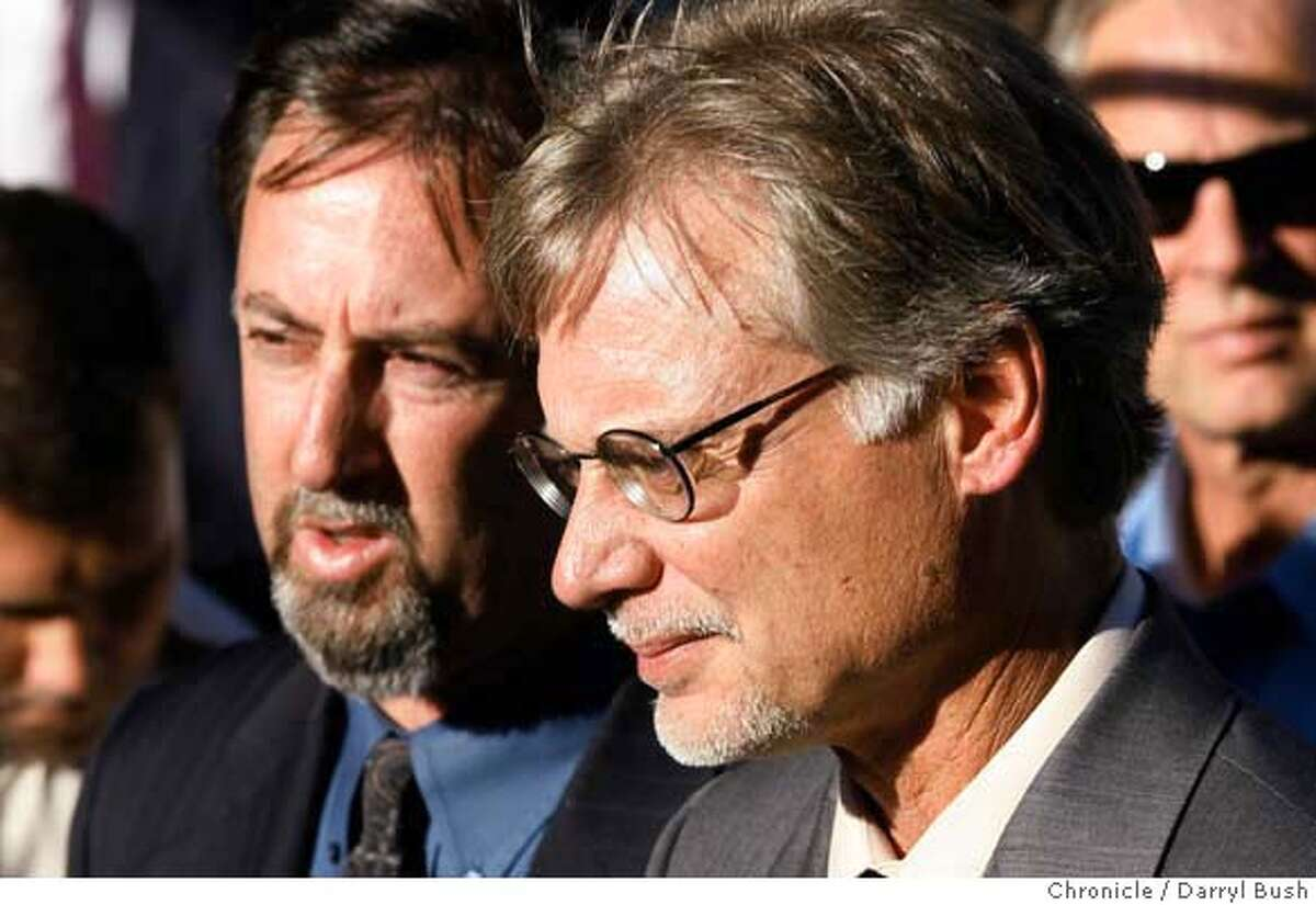 balco_0005_db.JPG Chronicle writers Mark Fainaru-Wada and Lance Williams, right, talk to the press outside the Federal Courthouse after receiving a judgement that might sentence them to prison in the BALCO case in San Francisco, CA on Thursday, September 21, 2006. 9/21/06 Darryl Bush / The Chronicle ** roster (cq) MANDATORY CREDIT FOR PHOTOG AND SF CHRONICLE/ -MAGS OUT