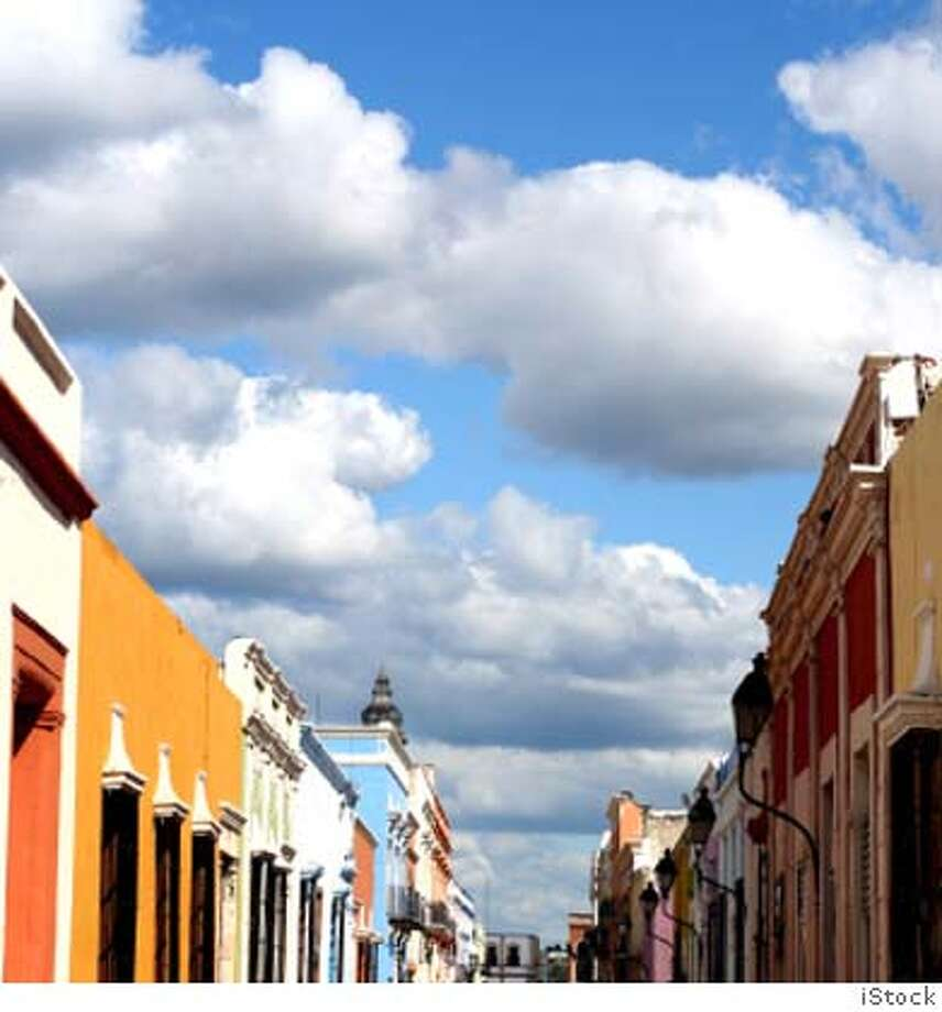 Brightly colored facades of spanish colonial buildings in Campeche, Mexico, a World Heritage Site Photo: Sanjee Wickramarachi - Chayaroop