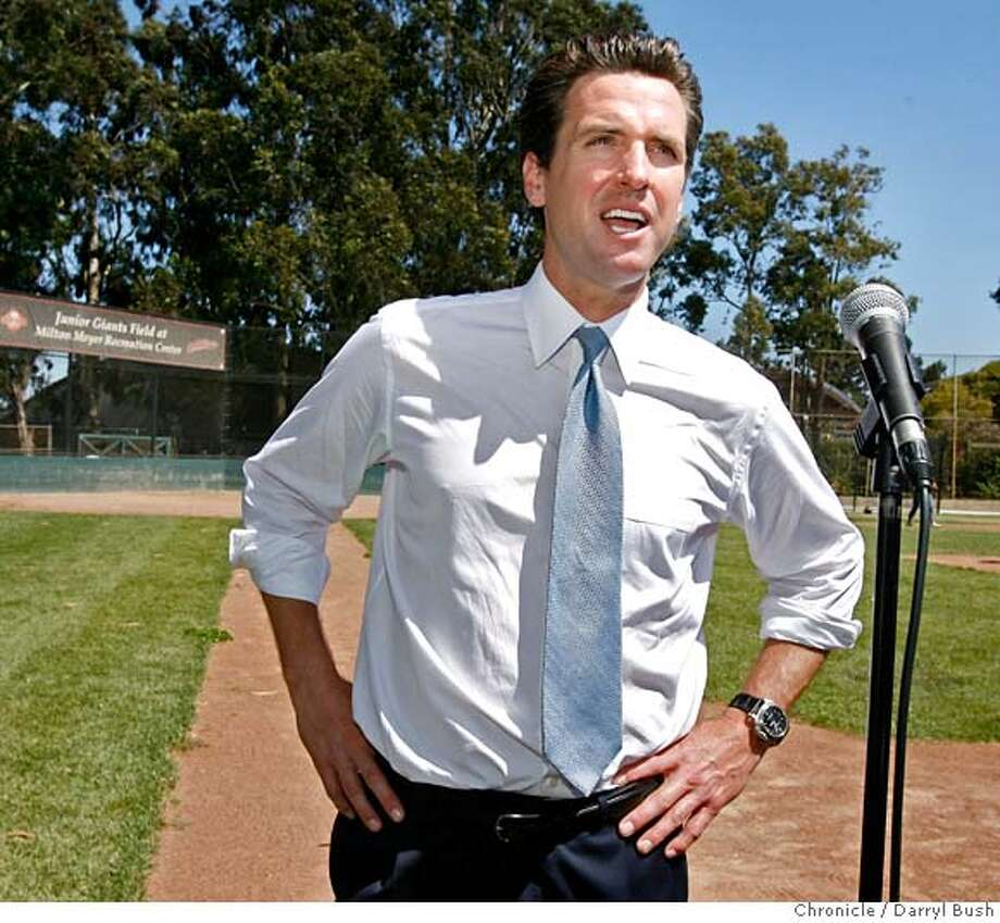 newsom26_0001_db.JPG  Mayor Gavin Newsom talks about San Francisco making the short list of those cities to be considered to host the 2016 Summer Olympic games as he visits the Hunters Point Boys and Girls Club baseball field, in San Francisco, CA on Wednesday, July 26, 2006. shot: 7/26/06  Darryl Bush / The Chronicle ** (cq) MANDATORY CREDIT FOR PHOTOG AND SF CHRONICLE/ -MAGS OUT Photo: Darryl Bush