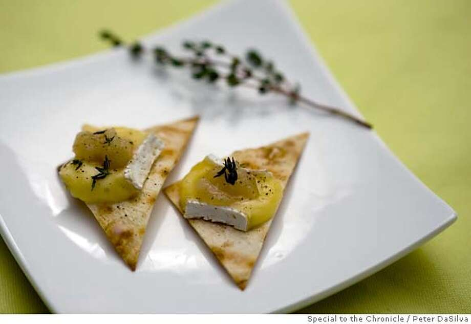 Vegan/Vegetarian - Flatbread with Honeyed Apple Compote & Brie Recipe  Photo: Peter DaSilva