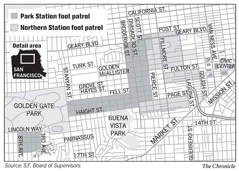 Police Foot Patrols. Chronicle Graphic
