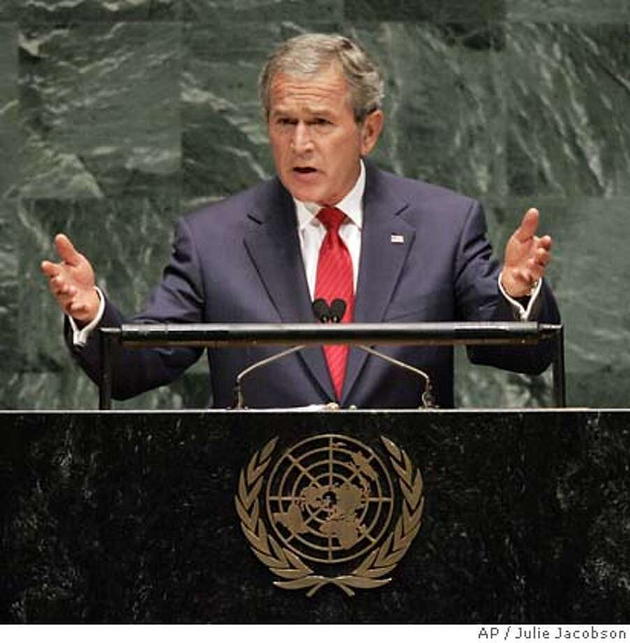 President Bush addresses the 61st session of the United Nations General Assembly at U.N. headquarters, Tuesday, Sept. 19, 2006. (AP Photo/Julie Jacobson) Photo: JULIE JACOBSON