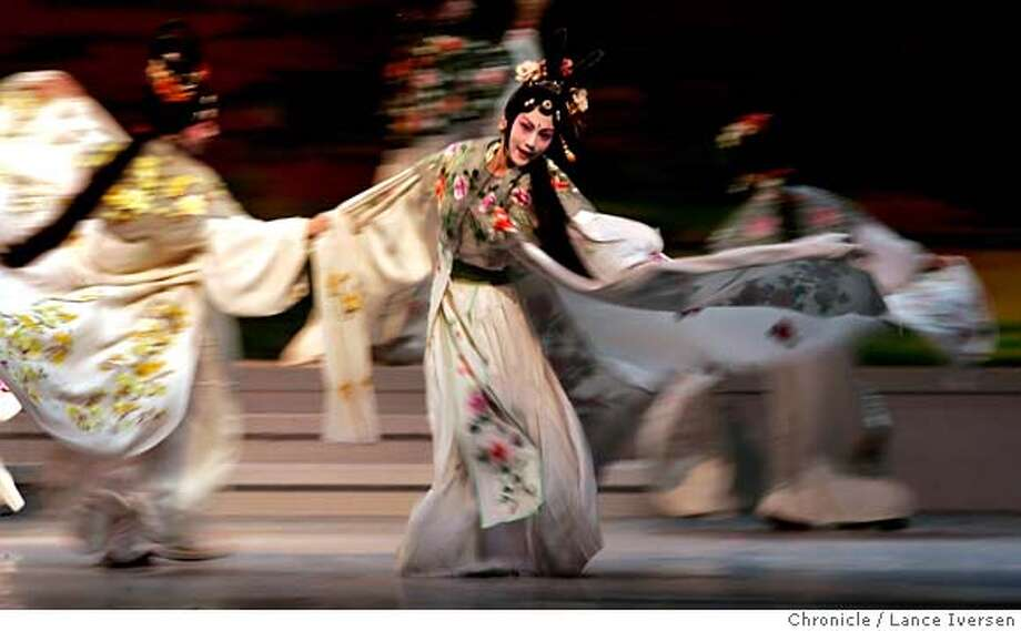 "PEONY_1063.JPG  cast dancers perform in Book one of three of a Chinese opera ""The Peony Pavilion"" now playing at Zellerbach Hall on the UC Berkeley campus. SEPTEMBER 13, 2006 in BERKELEY.  By Lance Iversen/San Francisco Chronicle MANDATORY CREDIT PHOTOG AND SAN FRANCISCO CHRONICLE/ MAGS OUT Photo: By Lance Iversen"
