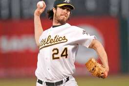 Oakland's starting Pitcher Dan Haren had a rough outing.  Oakland A's vs Cleveland Indians at McAfee Coliseum.  Photo by Michael Maloney / San Francisco Chronicle on 9/18/06 in Oakland,CA