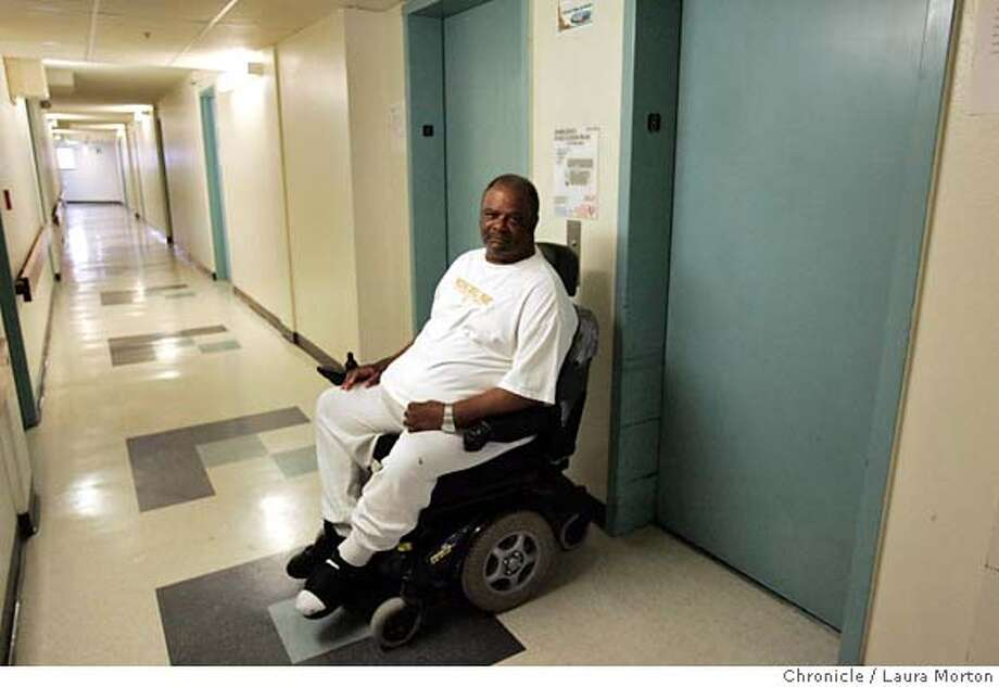 Leslie Clark poses for a portrait in the lobby outside his apartment in a public housing project in the Tenderloin in San Francisco, CA. Clark, who is in a wheelchair, says the elevators in his building often break down. MANDATORY CREDIT FOR PHOTOGRAPHER AND SAN FRANCISCO CHRONICLE/ -MAGS OUT Photo: Laura Morton