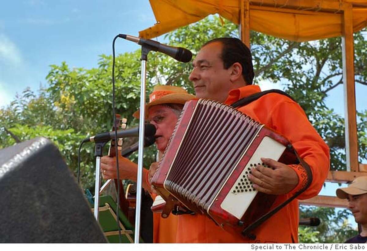 """Masaya, Nicaragua - Carlos Mejia Godoy would rather play his accordion and sing """"Nicaragua, Nicaraguita,"""" one of the country's most recognized songs than give speeches. But Godoy knows that he has a lot of politicking to do. Photo by Eric Sabo/Special to The Chronicle"""