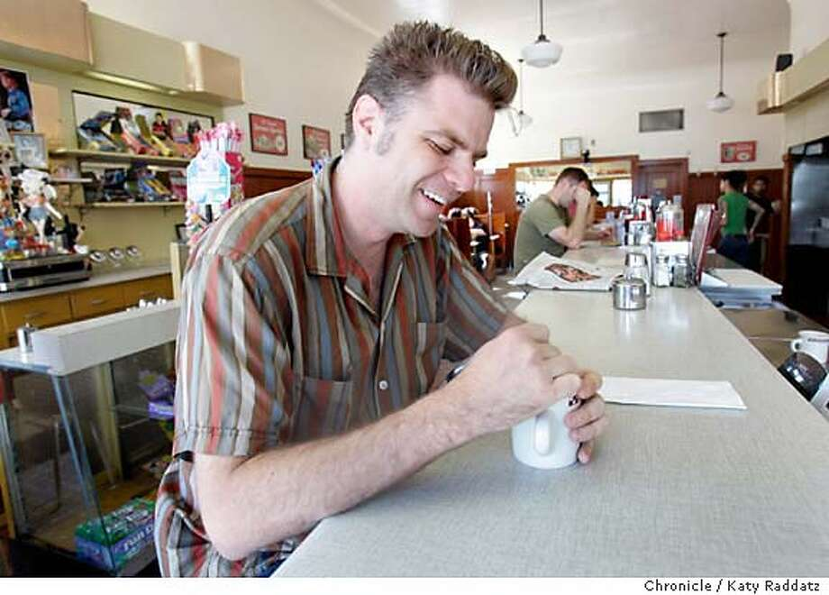 ONTHETOWN_ROSS_002_RAD.jpg  Jeff Ross, movie festival producer and Mission District resident, waking up with a cup of coffee at the St. Francis Fountain and Candy Shop on 24th St. in the Mission District of San Francisco. Photos shot on Tuesday, August 1, 2006, in San Francisco, CA. Photo taken on 8/1/06, in San Francisco, CA.  (Katy Raddatz/The S.F.Chronicle)  **Jeff Ross, St. Francis Fountain Mandatory credit for photographer and the San Francisco Chronicle/ -Mags out Photo: Katy Raddatz