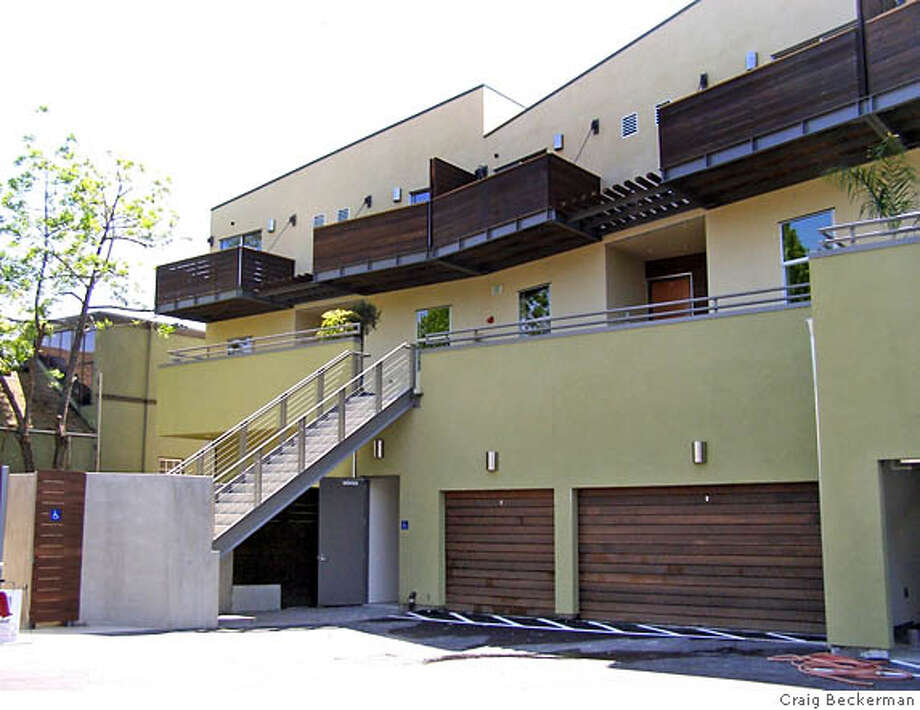Rear view of South Side Lofts, a 10-unit mixed-use condo, retail building in Berkeley Photo: Handout