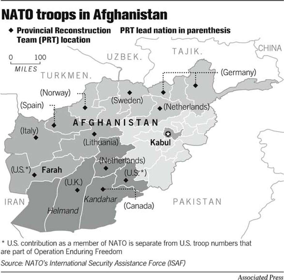 NATO Troops in Afghanistan. Associated Press Graphic