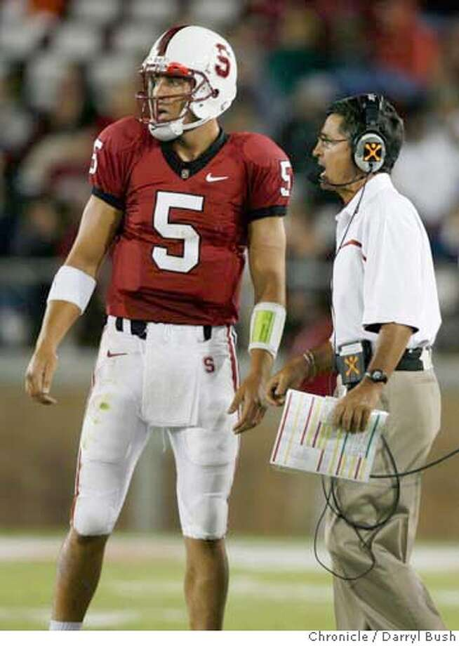 stanford_0022_db.JPG  Stanford's quarterback Trent Edwards talks with coach Walt Harris in the 2nd qtr. vs. Navy at New Stanford Stadium in Stanford, CA on Saturday, September 16, 2006. 9/16/06  Darryl Bush / The Chronicle ** (cq) MANDATORY CREDIT FOR PHOTOG AND SF CHRONICLE/ -MAGS OUT Photo: Darryl Bush
