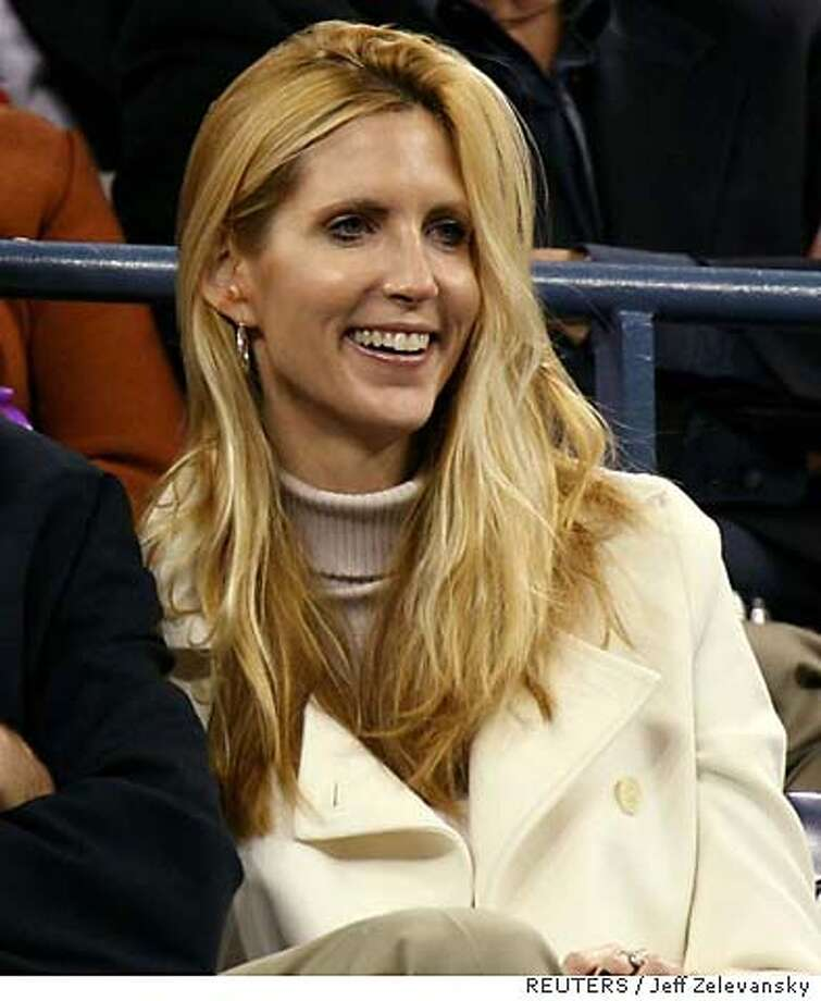Conservative commentator Ann Coulter watches play at the U.S. Open tennis tournament in New York September 4, 2006. REUTERS/Jeff Zelevansky (UNITED STATES) Photo: JEFF ZELEVANSKY