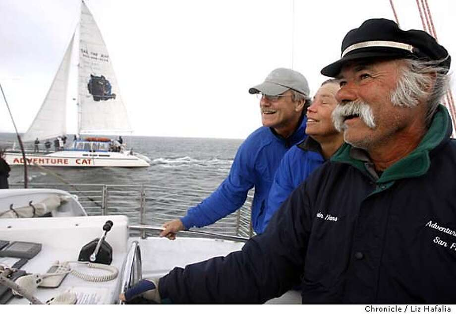 SAIL17_jpg.043.jpg Right to left--Hans Korfin, Pamela Simonson, and her husband Jay Gardner built the Adventure Cat (at top ,left), a catamaran at Pier 39, that takes people out on the SF bay for a sailing experience.  Photographed by Liz Hafalia/The Chronicle MANDATORY CREEDCIT FOR PHOTOGRAPHER AND SAN FRANCISCO CHRONICLE/ -MAGS OUT Photo: Liz Hafalia