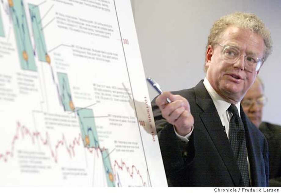 Lead attorney William S. Lerach talks about the University of California lawsuit against Enron in San Francisco, Monday, April 8, 2002. The 500-page complaint, filed on behalf of large investors and led by the University of California, said the banks and law firms raked in massive fees while financing and approving sham deals that hid debt and inflated profits. (AP Photo/San Francisco Chronicle, Frederic Larson)  ALSO RAN: 06/11/2005  William Lerach is the lead attorney in the University of California's lawsuit against the failed Enron Corp. CAT NORTHERN CA MANDATORY CREDIT PHOTOG & SF CHRONICLE/ MAGS OUT Photo: FREDERIC LARSON