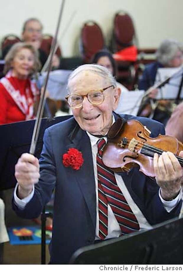 The orchestra members of the Oakland Community Orchestra threw Stanley Block a birthday at their rehearsal with a cake shaped like a violin. Stanley is a violinist for the Orchestra turned 100 this week, he's a retired lawyer, just passed his drivers test and played tennis until his late 90s. He's still married and lives in San Leandro.  **Stanley Block  9/15/06  {Frederic Larson/The Chronicle} MANDATORY CREDIT FOR AND SAN FRANCISCO CHRONICLE/ -MAGS OUT Photo: Frederic Larson