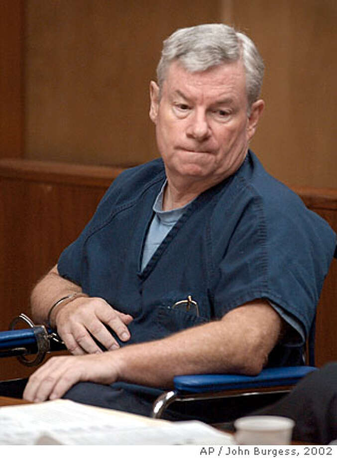 Don Kimball, a former Roman Catholic priest who was convicted in April of molesting a 13-year-old girl more than 20 years ago, listens as he is sentenced to seven years in prison, Friday, June 7, 2002, in Santa Rosa, Calif. Kimball was convicted of two counts of lewd conduct with the girl and was sentenced to seven years on each count, to run concurrently. (AP Photo/Pool, John Burgess) Photo: JOHN BURGESS