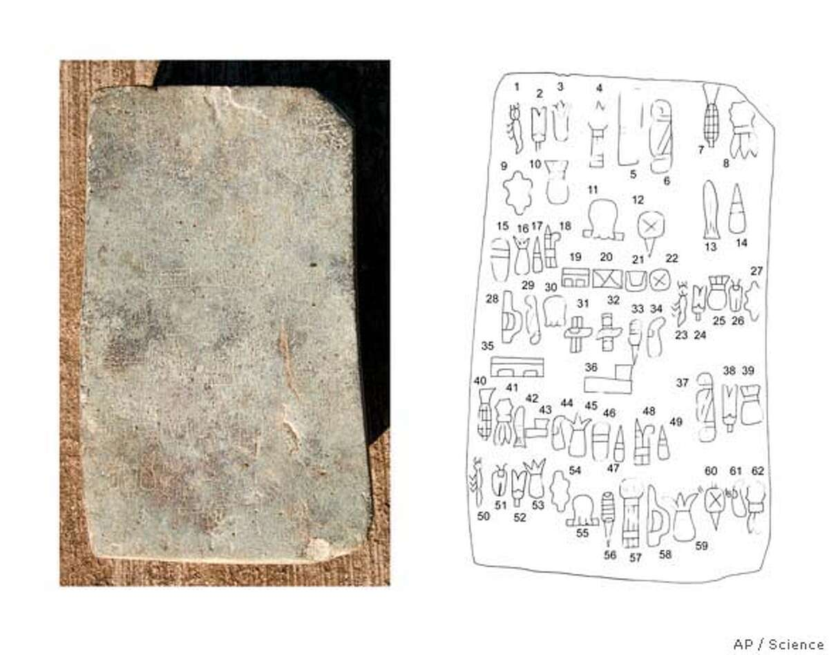 ** HOLD FOR RELEASE AT 2:00 PM EST THURSDAY, SEPT. 14 AND THEREAFTER ** These images provided by the journal Sceince show the Cascajal block, Veracruz, Mexico, left, and a drawing of the block. The stone block inscribed with patterned images found in Veracruz, Mexico is believed to be the oldest example of writing in the New World. (AP Photo/Science) ** HOLD FOR RELEASE AT 2:00 PM EST THURSDAY, SEPT. 14 AND THEREAFTER ** IMAGE PROVIDED BY THE JOURNAL SCEINCE