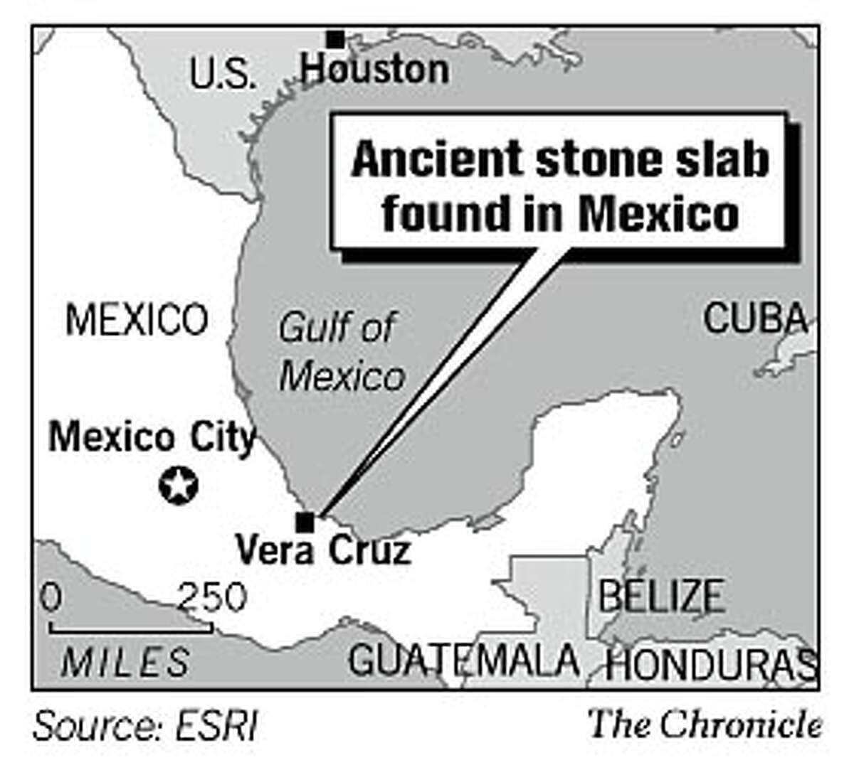 Ancient stone slab found in Mexico. Chronicle Graphic