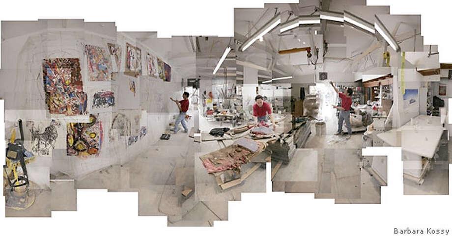 Panoramic view of John Toki's studio (2006) by Barbara Kossy. 42 in x 84 in. Credit: Barbara Kossy Photo: Barbara Kossy