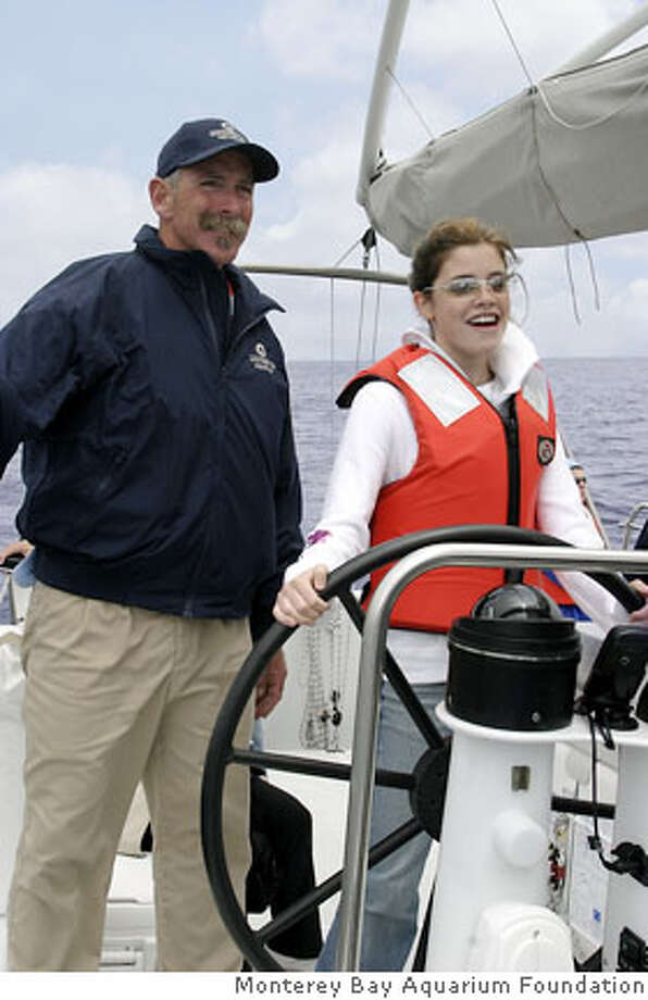 "credit: (c) 2002 Monterey Bay Aquarium Foundation "" Caption: Participants in ""Science Under Sail"" can take the helm. Photo: Monterey Bay Aquarium Foundation"