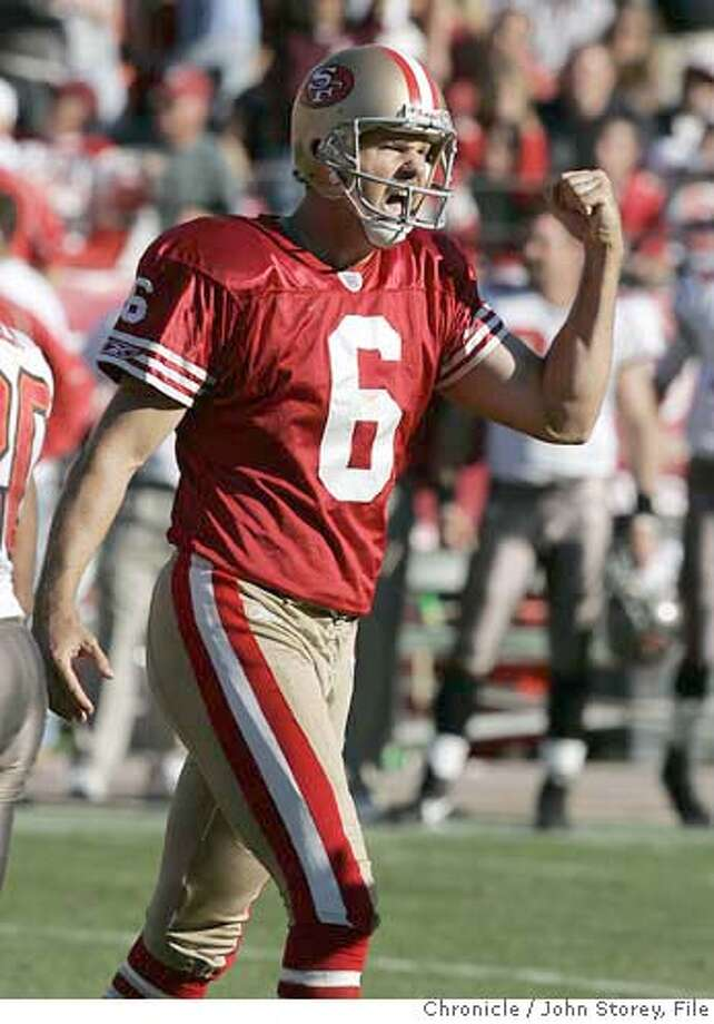 Fortyniners_jrs_0420.jpg  49er kicker Joe Nedney reacys to his last field goal before the half. The 49ers vs. Tampa Bay at Monster Park. John Storey San Francisco Event on 10/30/05 Ran on: 10-31-2005  Joe Nedney is pumped after his 47-yard field-goal attempt goes through the uprights on the final play of the first half. Nedney had five field goals in all. Ran on: 10-31-2005  Joe Nedney is pumped after his 47-yard field-goal attempt goes through the uprights on the final play of the first half. Nedney had five field goals in all. Ran on: 12-22-2005  Bryant Young Ran on: 12-22-2005  Bryant Young  Ran on: 07-23-2006 MANDATORY CREDIT FOR PHOTOG AND SF CHRONICLE/ -MAGS OUT Photo: John Storey