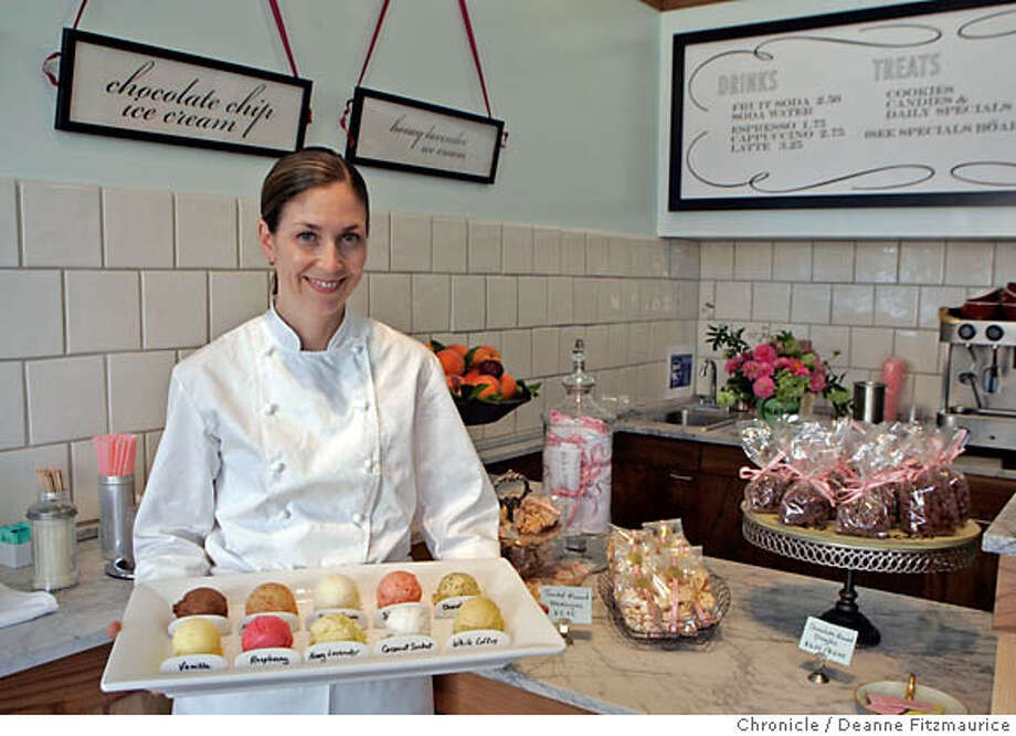 "whats13_0011_df.jpg  Mary Canales (cq) has opened a new ice cream shop on College Avenue called ""Ici"". Photographed in Berkeley on 9/7/06.  (Deanne Fitzmaurice/ The Chronicle) Mandatory credit for photographer and San Francisco Chronicle. /Magazines out. Photo: Deanne Fitzmaurice"