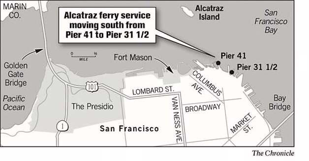 Alcatraz Ferry Service Moving South from Pier 41 ro Pier 31 1/2. Chronicle Graphic Photo: Joe Shoulak